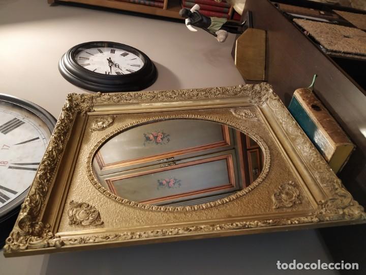 Antigüedades: ANTIGUO ESPEJO DORADO MADERA Y ESTUCO. - Foto 2 - 170435048