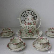 Antigüedades: JUEGO CAFE 10 PIEZAS LA CARTUJA PICKMAN FLORES . SIN USAR. Lote 170501688