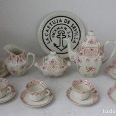 Antigüedades: JUEGO CAFE 15 PIEZAS LA CARTUJA PICKMAN ROSAS. SIN USAR. Lote 170502628
