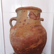 Antigüedades: MUY ANTIGUA ORZA DE DOS ASAS REALIZADA EN BARRO. Lote 170518142
