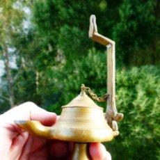 Antigüedades: CANDIL LÁMPARA DE ACEITE EN BRONCE PERFECTO ESTADO. Lote 147855130