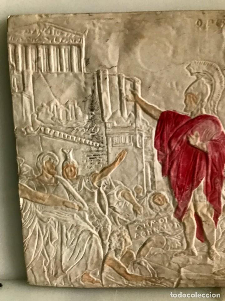 Antigüedades: CUADRO EN RESINA CON RELIEVE ESCENA GRIEGA - Foto 2 - 170574600