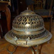 Antigüedades: BRASERO ESTILO ISABELINO LATÓN BRONCE. Lote 170732100