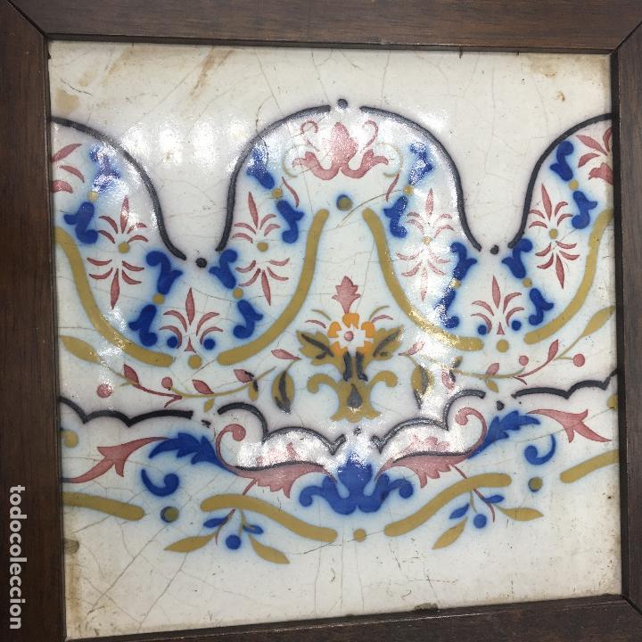 Antigüedades: BALDOSA CERÁMICA CATALANA ? 19X19 ENMARCADA S. XIX - Foto 4 - 170873075