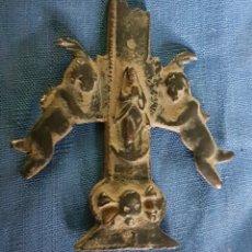 Antigüedades: GRAN PIEZA INFERIOR DE ANTIGUA CRUZ CARAVACA, CALAVERA Y ANGELES. Lote 170874808