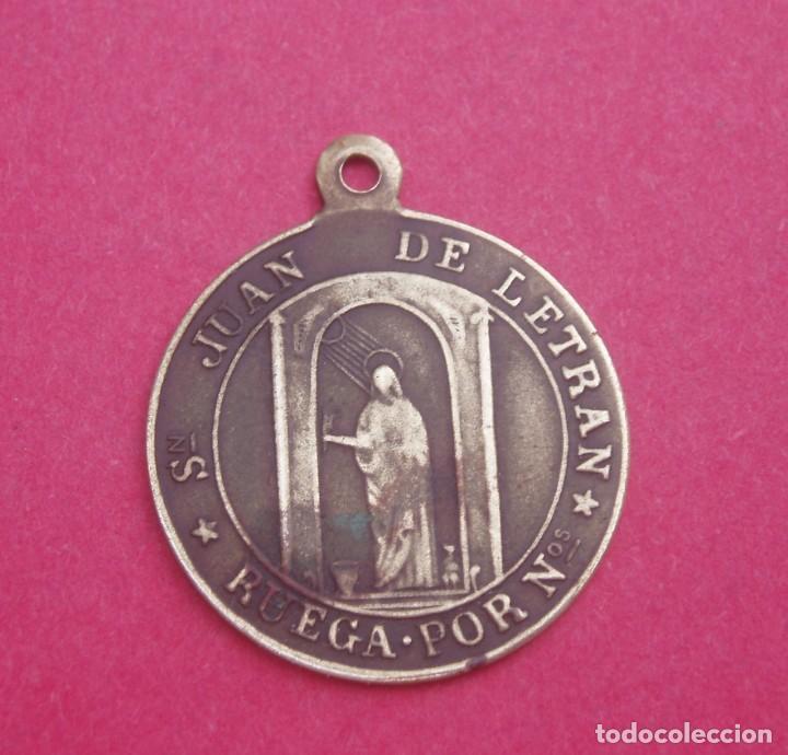 Antigüedades: Medalla Siglo XIX Virgen de la Peña de Graus. La Ribagorza. Huesca y San Juan de Letrán. Muy Rara. - Foto 2 - 170882455