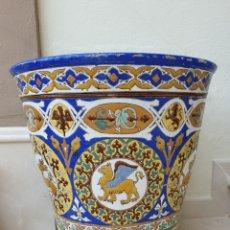 Antigüedades: MAGNIFICO MACETON,MACETA DE GRAN TAMAÑO EN CUERDA SECA,CERAMICA DE TRIANA,(SEVILLA). Lote 170882880