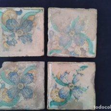Antigüedades: 4 AZULEJOS ANTIGUOS VALENCIANOS SIGLO XVIII. Lote 170887245