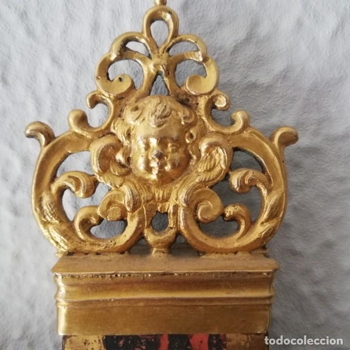 Antigüedades: ANTIGUA CRUZ DE ALTAR . MARFIL Y MADERA POLICROMADA - Foto 8 - 170892790