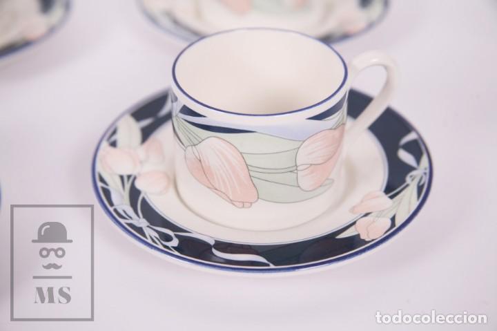 Antigüedades: Juego de Café de Porcelana Arnolfo di Cambio - Decoración de Tulipanes - 6 Tazas y 6 Platillos - Foto 2 - 170917765