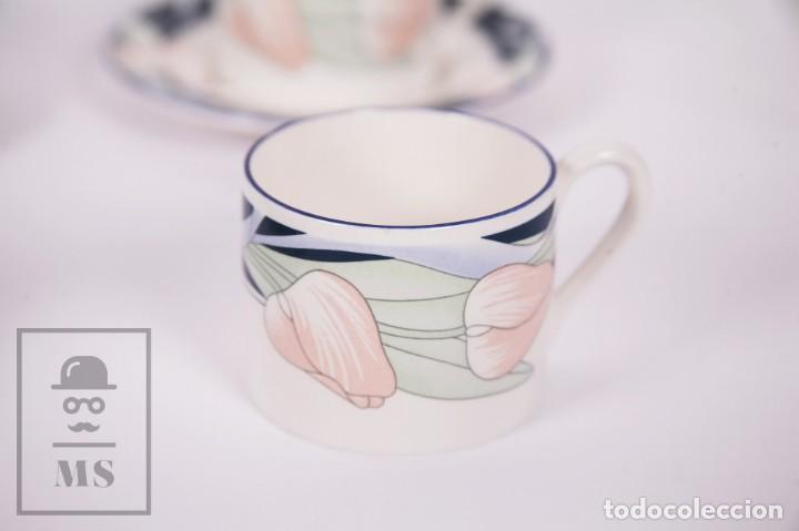 Antigüedades: Juego de Café de Porcelana Arnolfo di Cambio - Decoración de Tulipanes - 6 Tazas y 6 Platillos - Foto 9 - 170917765