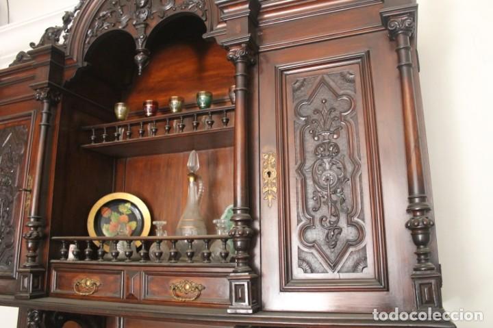 Antigüedades: APARADOR de estilo ISABELINO DE CAOBA TALLADA DE 1850-1860. - Foto 5 - 170932650