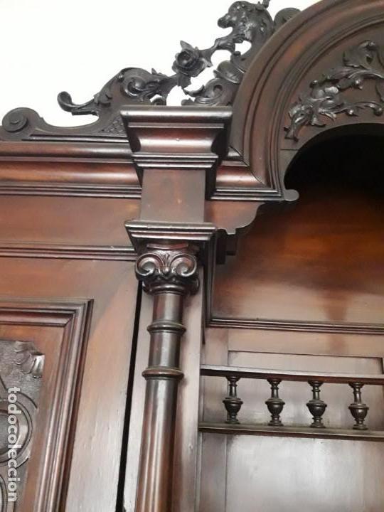 Antigüedades: APARADOR de estilo ISABELINO DE CAOBA TALLADA DE 1850-1860. - Foto 6 - 170932650