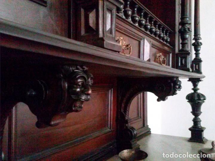 Antigüedades: APARADOR de estilo ISABELINO DE CAOBA TALLADA DE 1850-1860. - Foto 9 - 170932650