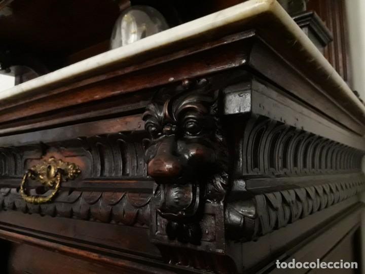 Antigüedades: APARADOR de estilo ISABELINO DE CAOBA TALLADA DE 1850-1860. - Foto 21 - 170932650