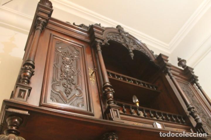 Antigüedades: APARADOR de estilo ISABELINO DE CAOBA TALLADA DE 1850-1860. - Foto 25 - 170932650