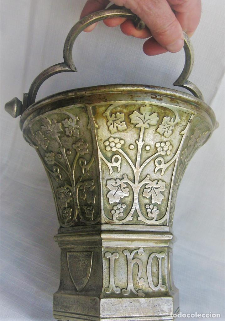 ACETRE EN PLATA CON SIMBOLOGIA RELIGIOSA (Antigüedades - Religiosas - Artículos Religiosos para Liturgias Antiguas)