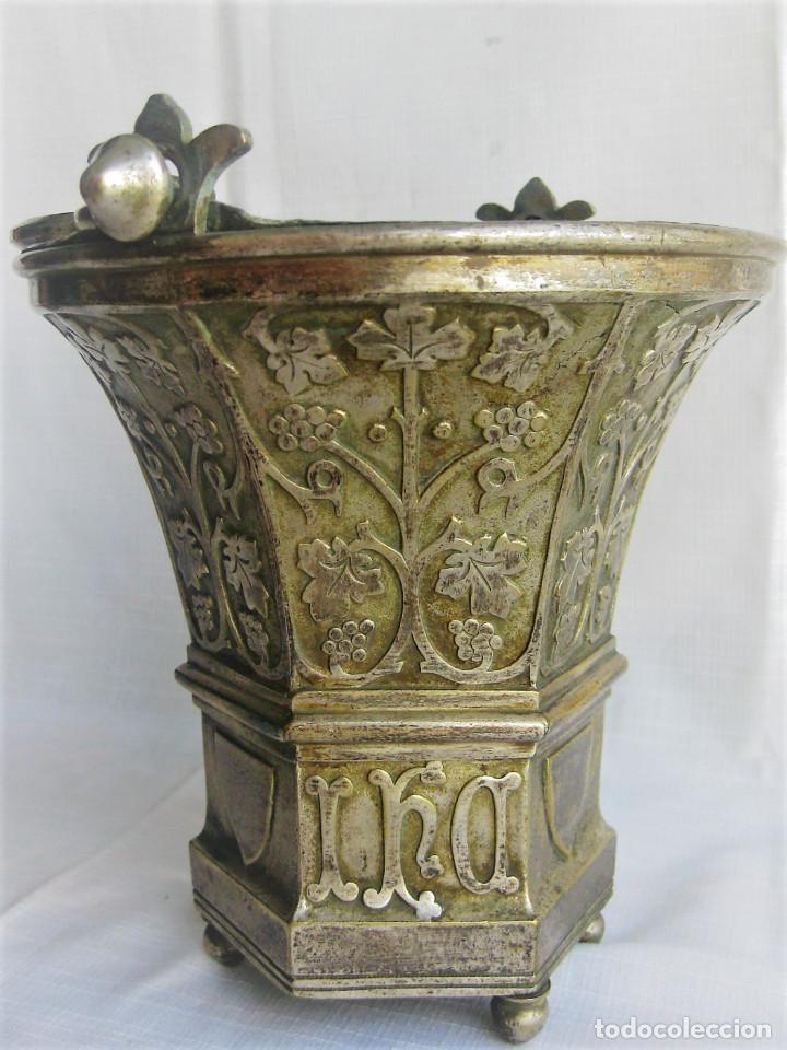 Antigüedades: ACETRE EN PLATA CON SIMBOLOGIA RELIGIOSA - Foto 7 - 199037421