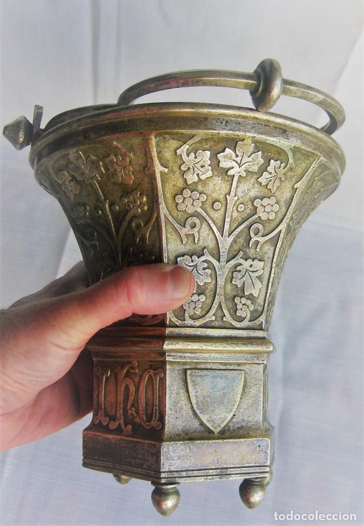 Antigüedades: ACETRE EN PLATA CON SIMBOLOGIA RELIGIOSA - Foto 13 - 199037421