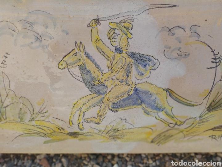 Antigüedades: Azulejo Guerrero 49,5 cm x 20 cm. - Foto 2 - 170971069