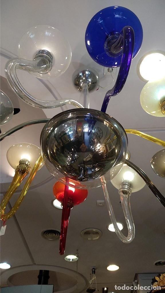Antigüedades: Lámpara de Murano en distintos colores. Venini años 70 S. XIX - Foto 2 - 170972039