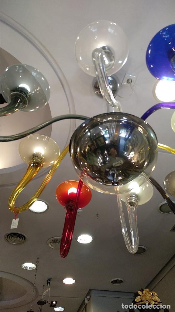 Antigüedades: Lámpara de Murano en distintos colores. Venini años 70 S. XIX - Foto 4 - 170972039