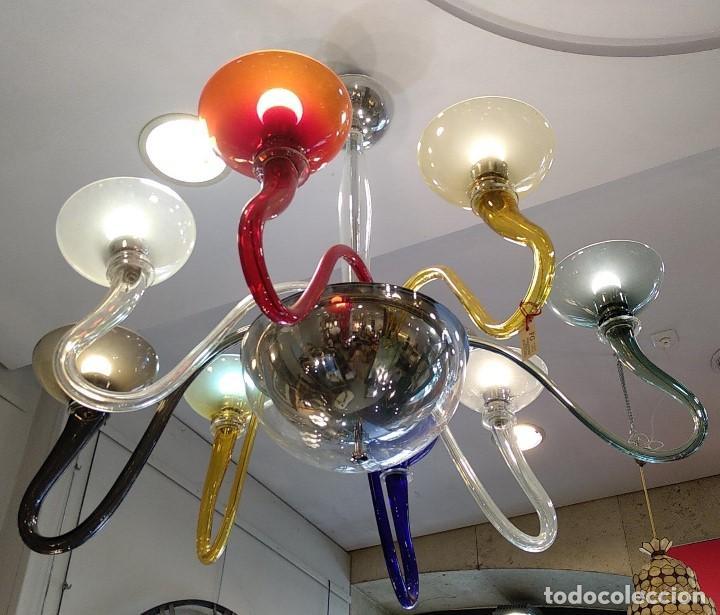 Antigüedades: Lámpara de Murano en distintos colores. Venini años 70 S. XIX - Foto 6 - 170972039