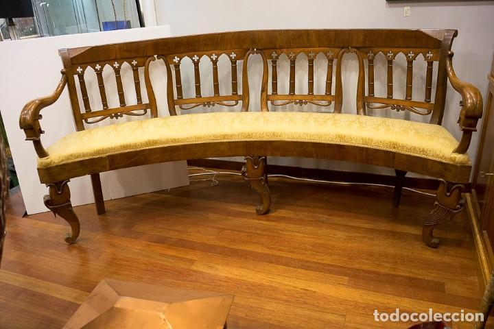 BANCO ESTILO FERNANDINO- 1830- MADERA DE NOGAL (Antigüedades - Muebles Antiguos - Sillas Antiguas)