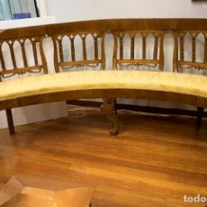 Antigüedades: BANCO ESTILO FERNANDINO- 1830- MADERA DE NOGAL. Lote 170973695