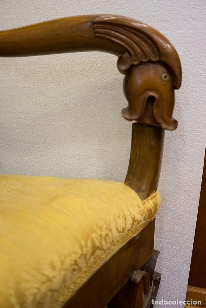 Antigüedades: Banco estilo Fernandino- 1830- madera de nogal - Foto 2 - 170973695