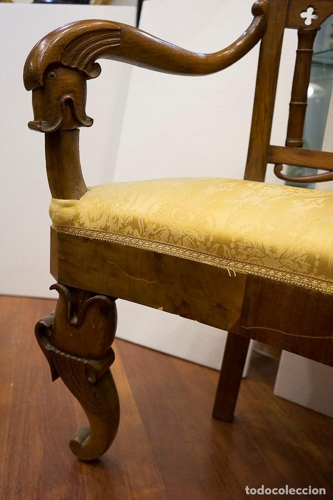 Antigüedades: Banco estilo Fernandino- 1830- madera de nogal - Foto 3 - 170973695