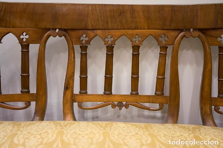 Antigüedades: Banco estilo Fernandino- 1830- madera de nogal - Foto 4 - 170973695