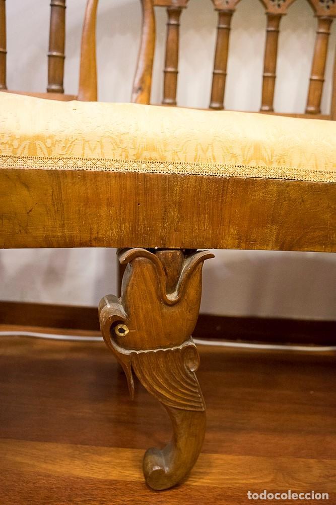 Antigüedades: Banco estilo Fernandino- 1830- madera de nogal - Foto 6 - 170973695