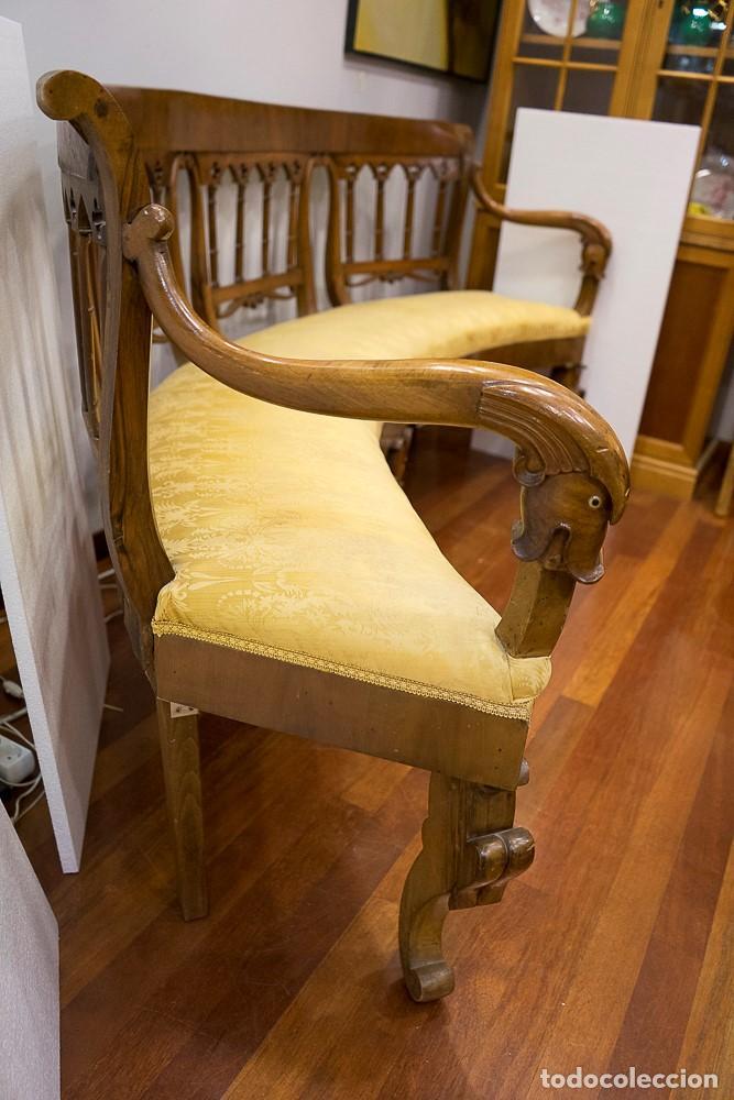 Antigüedades: Banco estilo Fernandino- 1830- madera de nogal - Foto 8 - 170973695