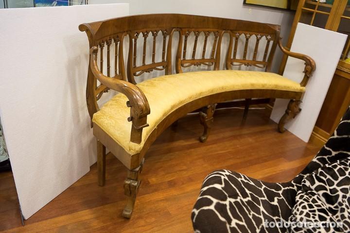 Antigüedades: Banco estilo Fernandino- 1830- madera de nogal - Foto 9 - 170973695