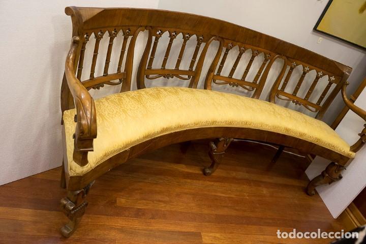 Antigüedades: Banco estilo Fernandino- 1830- madera de nogal - Foto 11 - 170973695