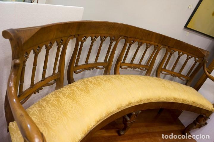 Antigüedades: Banco estilo Fernandino- 1830- madera de nogal - Foto 12 - 170973695