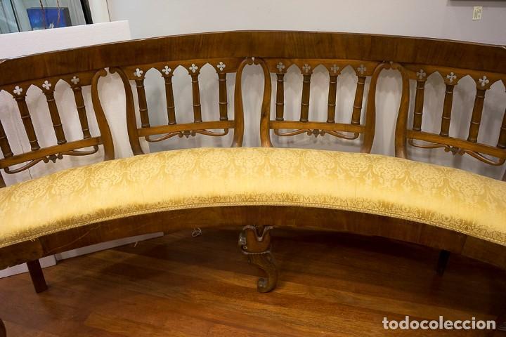 Antigüedades: Banco estilo Fernandino- 1830- madera de nogal - Foto 13 - 170973695