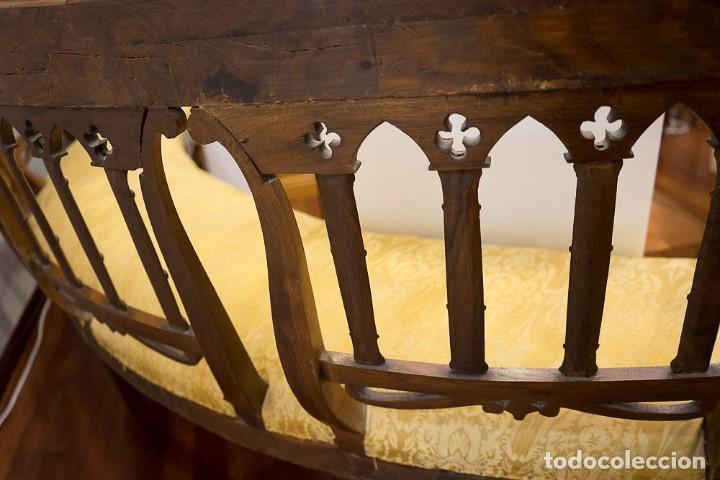 Antigüedades: Banco estilo Fernandino- 1830- madera de nogal - Foto 14 - 170973695