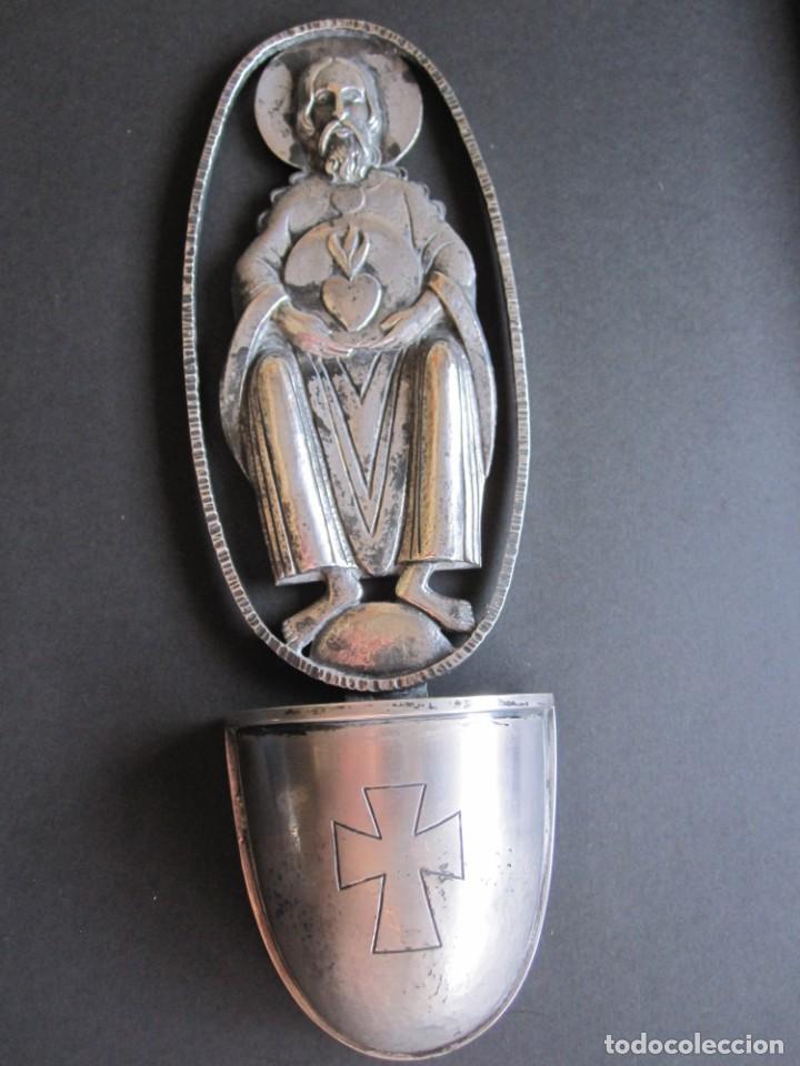 ANTIGUA BENDITERA REALIZADA EN PLATA DE LEY (Antigüedades - Platería - Plata de Ley Antigua)