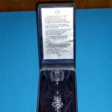 Antiquités: COPA DE CRISTAL DE PLOMO HECHA A MANO CON SU ESTUCHE.THE QUEEN'S SILVER JUBILEE 1977.. Lote 170990927