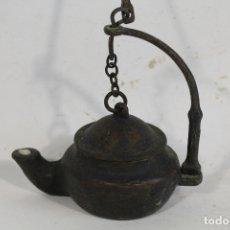 Antigüedades: LAMPARA CANDIL ANTIGUO DE BRONCE. Lote 179559805