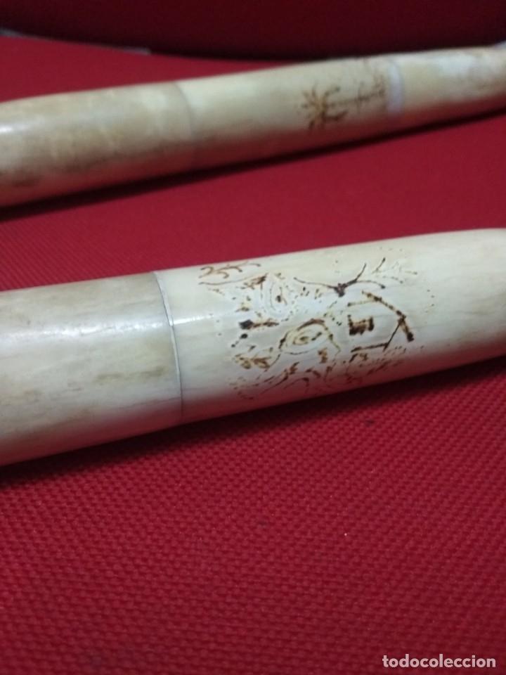 Antigüedades: antiguo bastón de hueso y madera - Foto 4 - 99342871