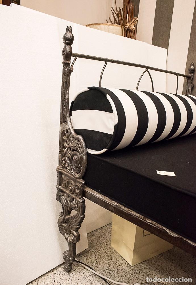 Antigüedades: Cama de Día francesa, S.XIX Napoleón III- plegable y colchón recién tapizado - Foto 3 - 171019548