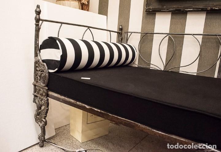 Antigüedades: Cama de Día francesa, S.XIX Napoleón III- plegable y colchón recién tapizado - Foto 4 - 171019548