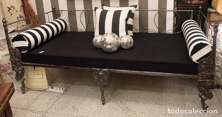 Antigüedades: Cama de Día francesa, S.XIX Napoleón III- plegable y colchón recién tapizado - Foto 5 - 171019548