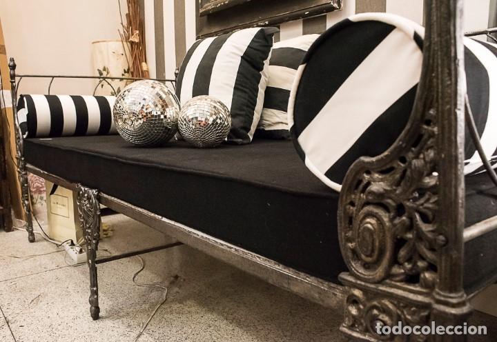 Antigüedades: Cama de Día francesa, S.XIX Napoleón III- plegable y colchón recién tapizado - Foto 8 - 171019548