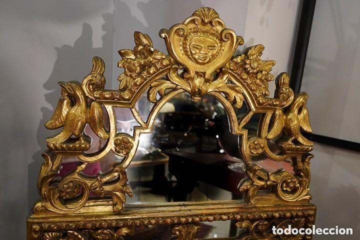 Antigüedades: Espejo francés madera tallada, Estilo Regencia Época Napoleón III, oro fino. Mascarón central - Foto 2 - 171021175