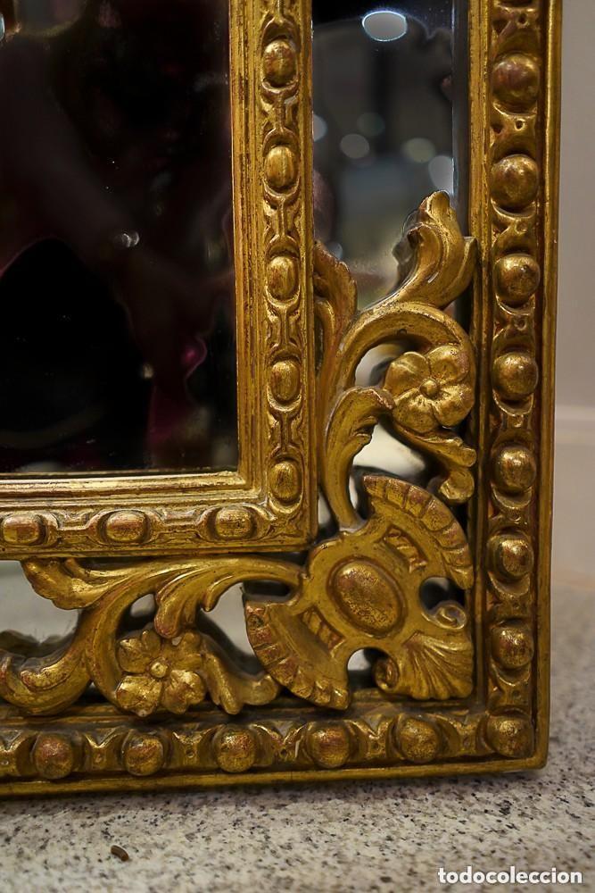 Antigüedades: Espejo francés madera tallada, Estilo Regencia Época Napoleón III, oro fino. Mascarón central - Foto 5 - 171021175
