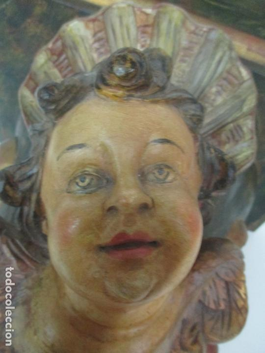Antigüedades: Preciosa Ménsula - Peana - Madera Tallada y Policromada - Ángel Querubín - Foto 5 - 171022364